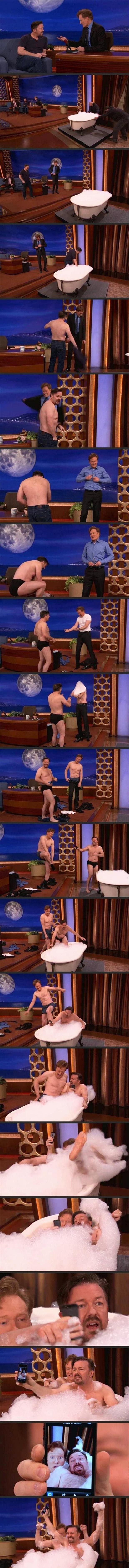 the conan o brien taking a bath on the show