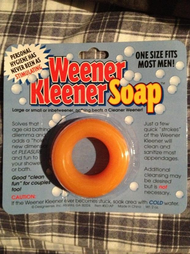 the weener kleener soap, funny products