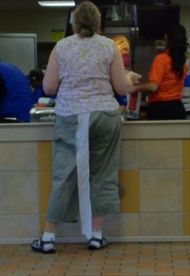 toilet paper hanging out of a womans pants, funny pictures