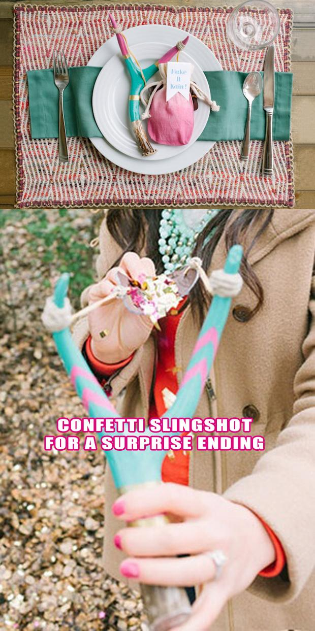 wedding craft ideas, confetti sling shot fun