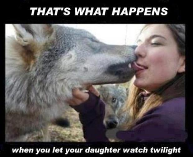 woman kissing a wolf,