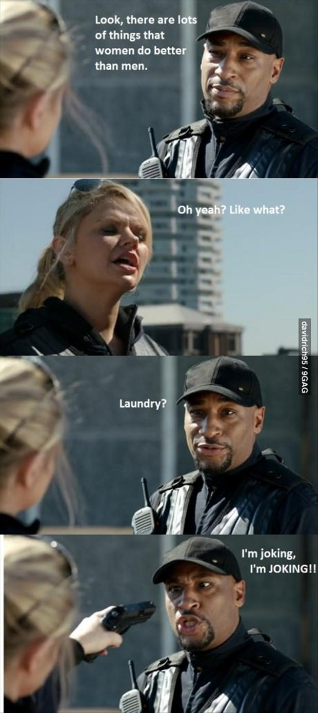 women are better at laundry