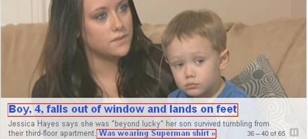 4 year old boy falls out of third story window and lands on his feet wearing a superman shirt
