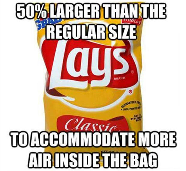 50 percent large chip bags