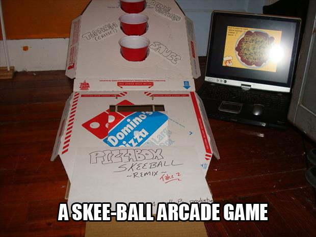 A Skee-Ball Game made from pizza boxes