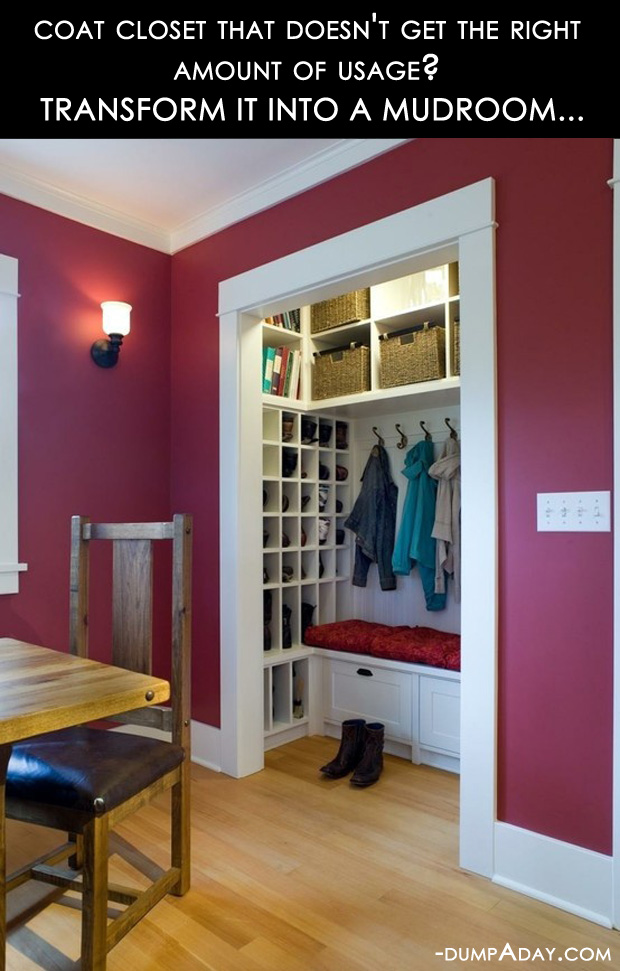 Do It Yourself Home Decorating Ideas: Amazing Easy DIY Home Decor Ideas- Closet To Mudroom