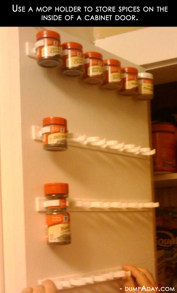 Amazing easy diy home decor ideas mop holder spice rack for Easy home improvement projects