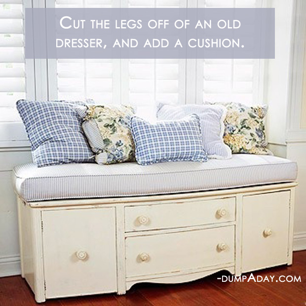 Amazing Easy DIY Home Decor Ideas- old dresser seat