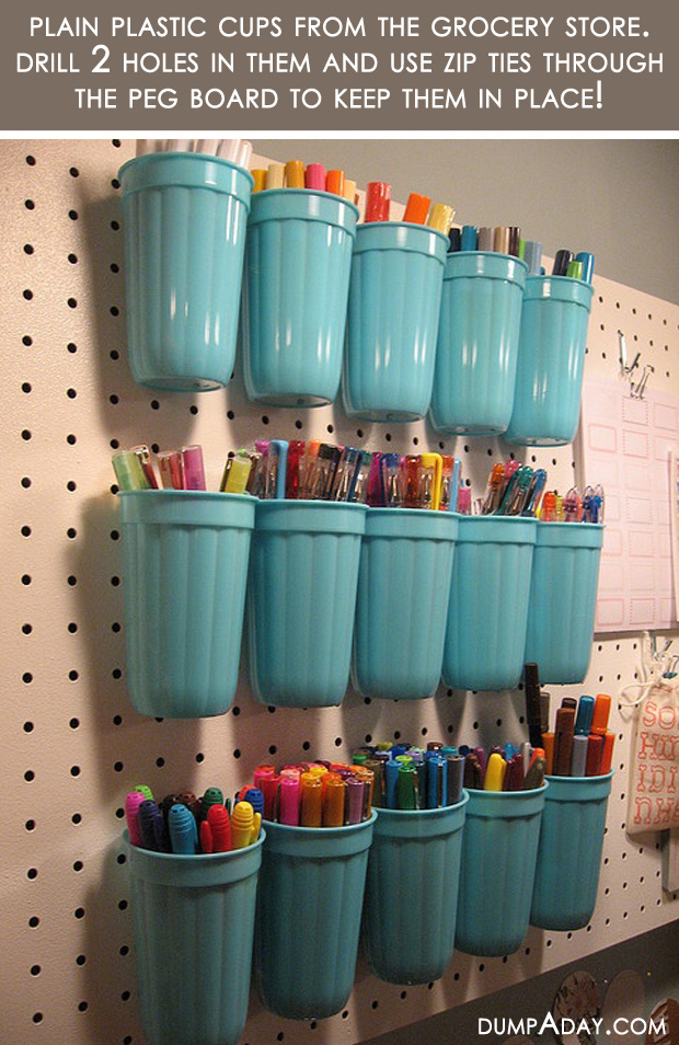 Amazing Easy DIY Home Decor Ideas- plastic cup organizer - Dump A Day