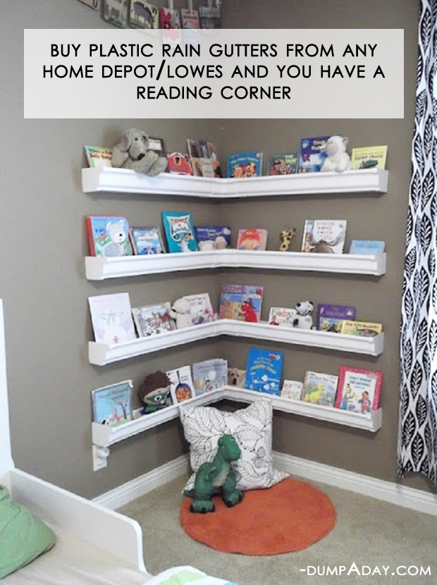 Amazing Easy DIY Home Decor Ideas- rain gutter reading corner