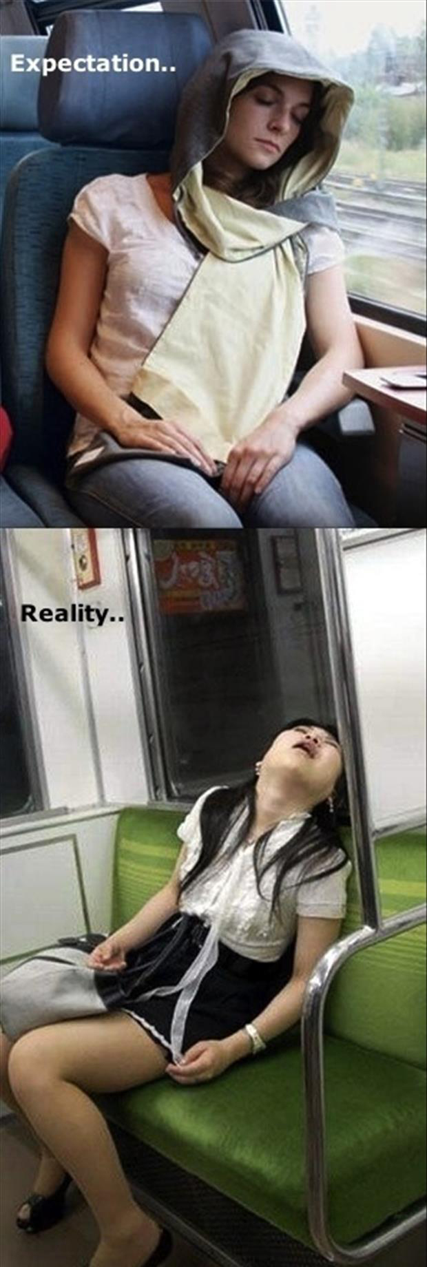 Best of Expectation Vs Reality Pictures- Sleeping on a bus
