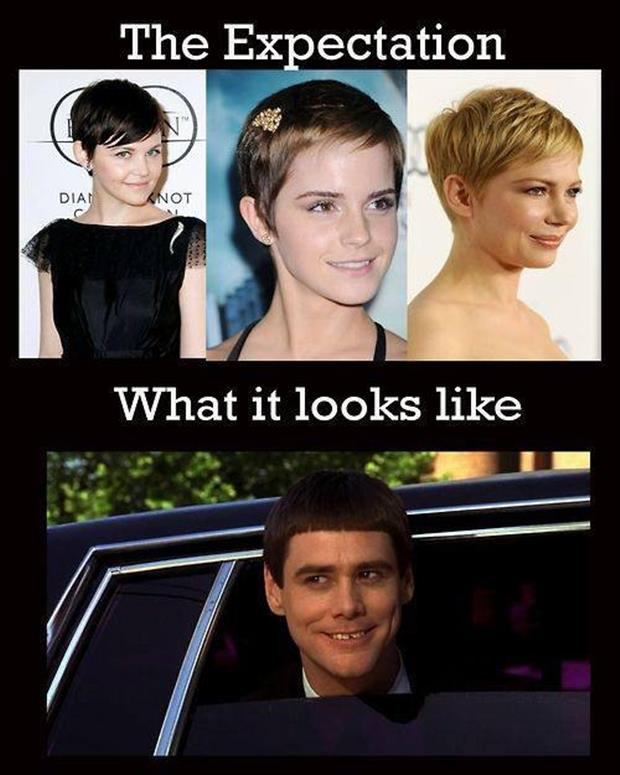 Best of Expectation Vs Reality Pictures- pixie haircut