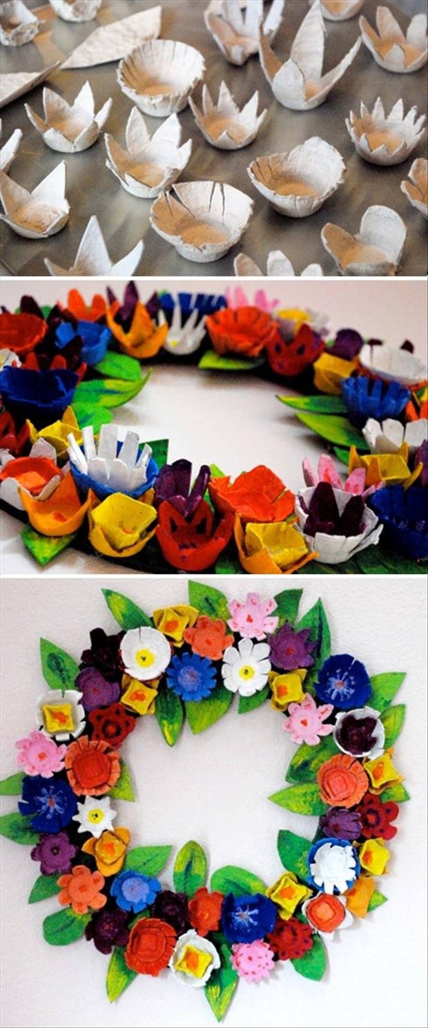 Easy easter diy crafts egg carton wreath dump a day Egg carton flowers ideas