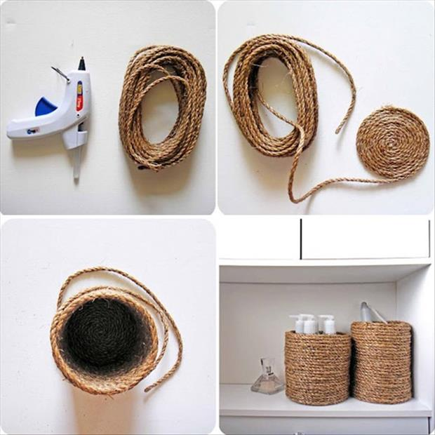 Fun DIY Crafty ideas- Rope containers