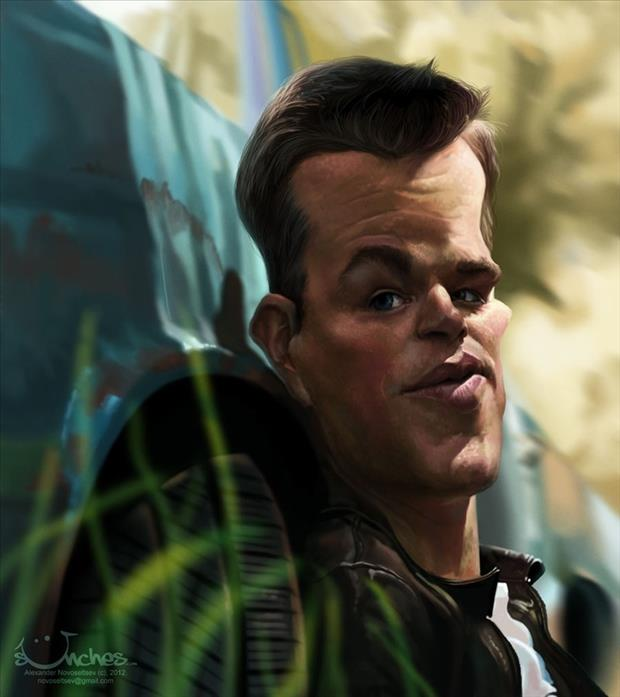 Funny Celebrity Charicatures-Matt Damon
