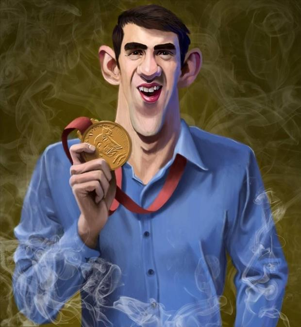 Funny Celebrity Charicatures-Michael Phelps