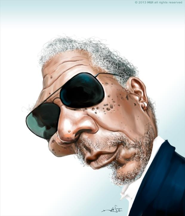 Funny Celebrity Charicatures-Morgan Freeman