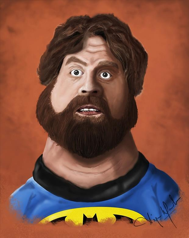 Funny Celebrity Charicatures-Zach Galifianakis