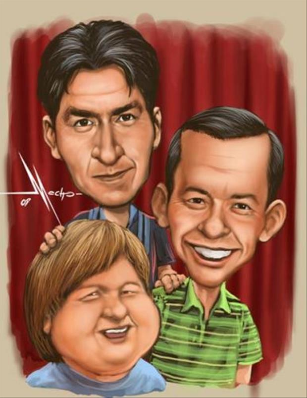 Funny Celebrity Charicatures- two and a half men