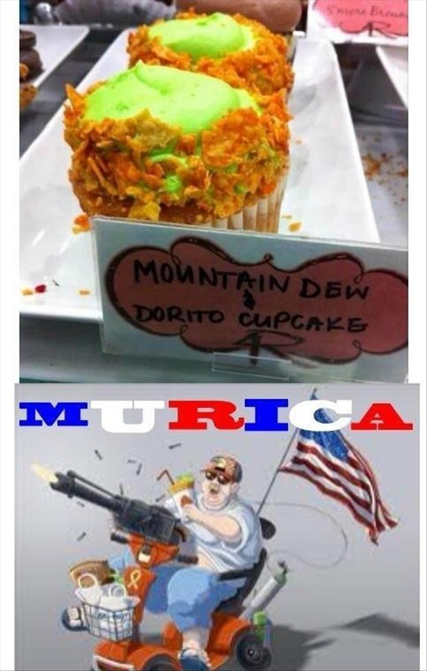 Funny Murica Pictures-mountain dew dorito cupcakes