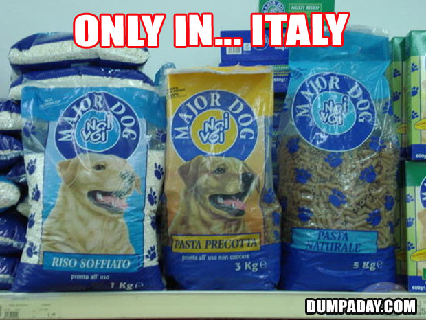 Funny Only In Pictures- Italy Pasta dog food