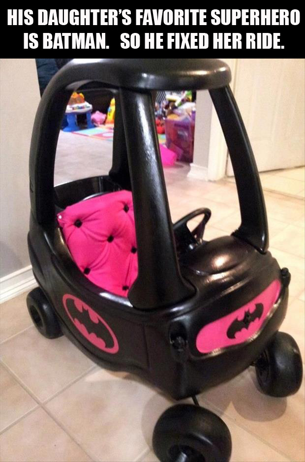 Little girl loves Batman so her Dad customized her ride