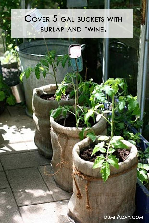 Spring garden ideas- Burlap covers barrels