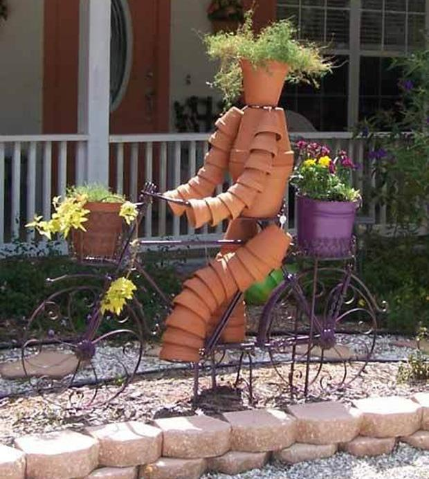 Spring garden ideas- biking pot man