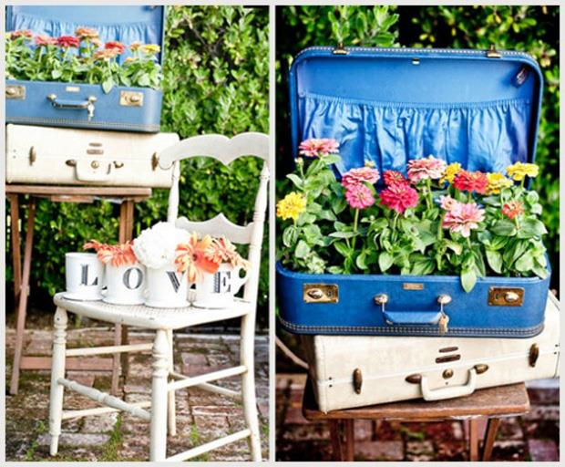 Spring garden ideas- fun suitcase planters