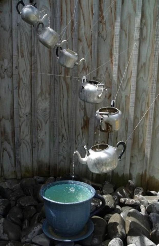 Spring garden ideas- teapot fountain