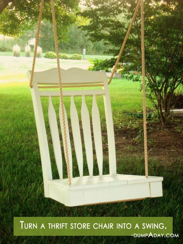 Spring garden ideas- thrift chair swing
