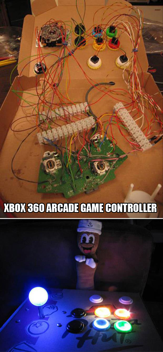 XBox 360 Arcade Game Controller from pizza boxes