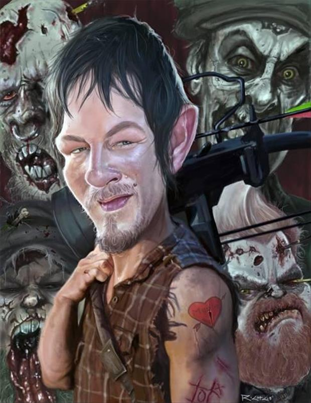 a Funny Celebrity Charicatures-Daryl Dixon, The Walking Dead