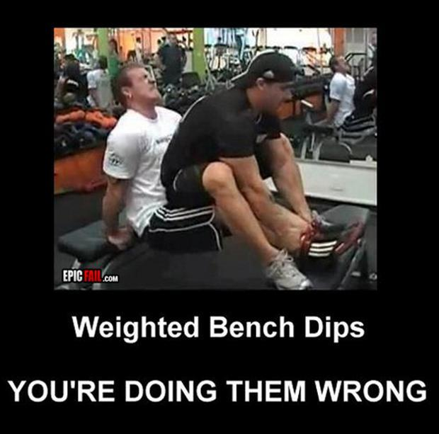 a Funny fitness pictures- weighted bench dips