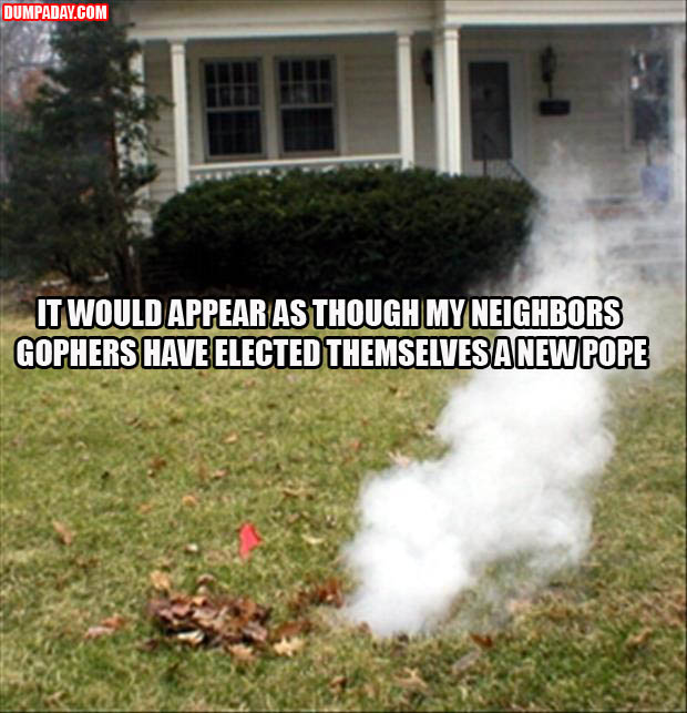 a IT WOULD APPEAR AS THOUGH MY NEIGHBORS GOPHERS HAVE ELECTED THEMSELVES A NEW POPE