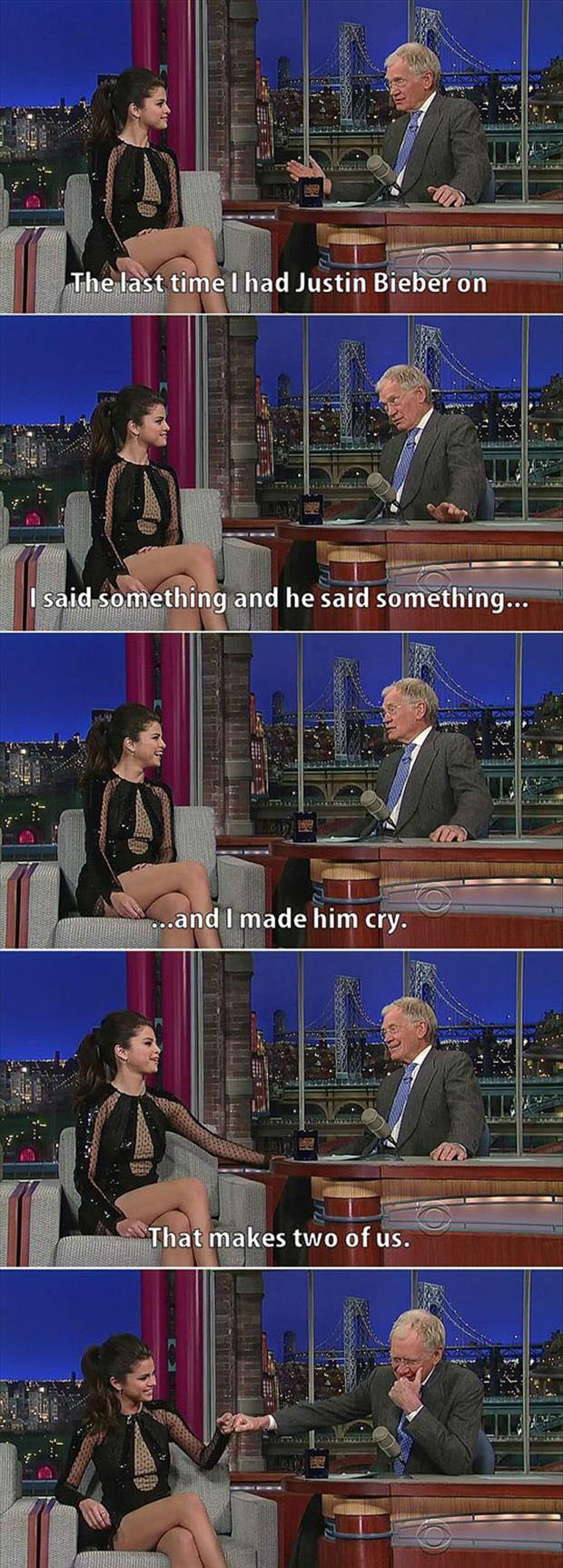 a david letterman had justin bieber on and made him cry