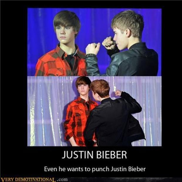 a even justin bieber wants to punch justin bieber funny demotivational posters
