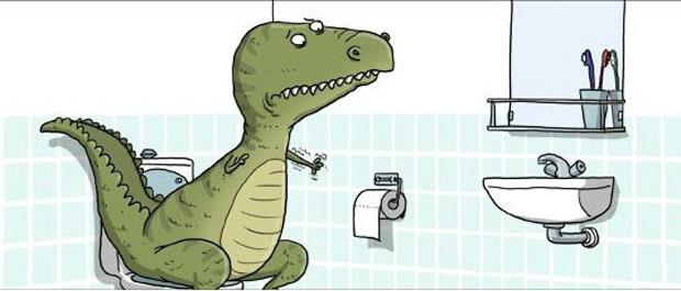 a funny-T-Rex toilet paper picture
