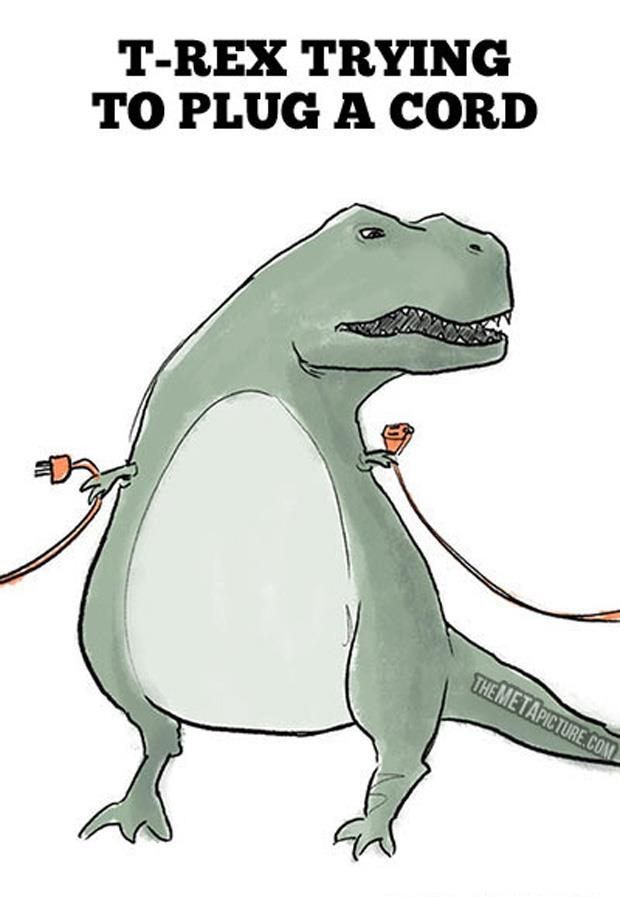 a funny  t-rex trying to plug a cord