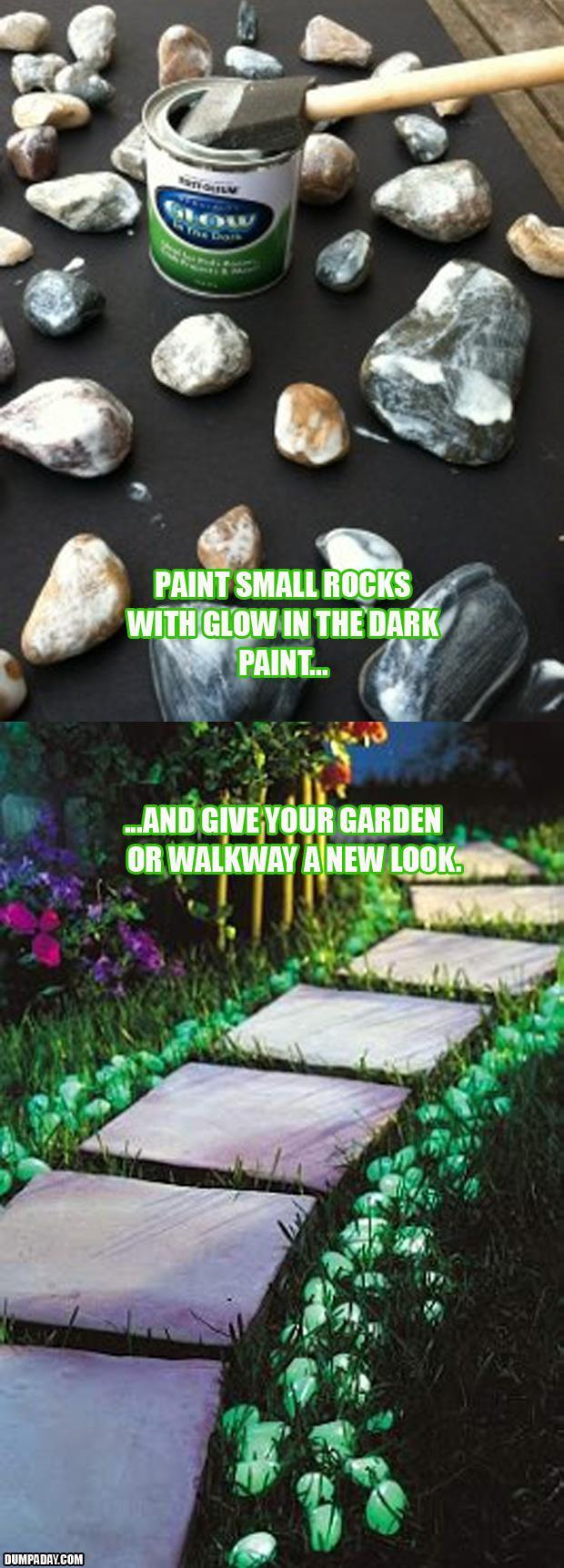 a glow in the dark garden rocks
