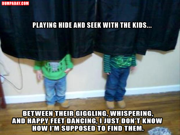 a playing hide and seek with my kids