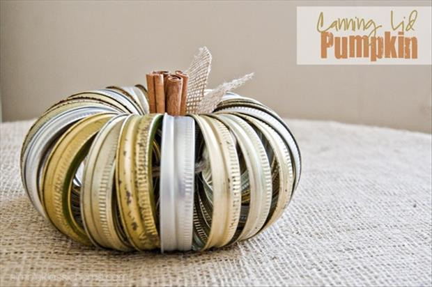 a pumpkin from canning jar lids recycled