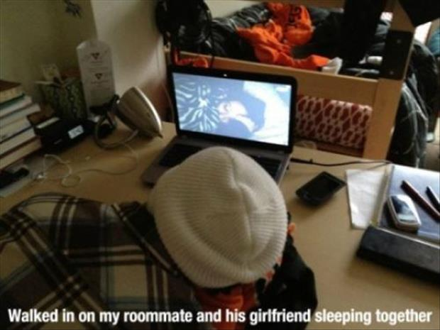 a roommate and girlfriend sleeping together