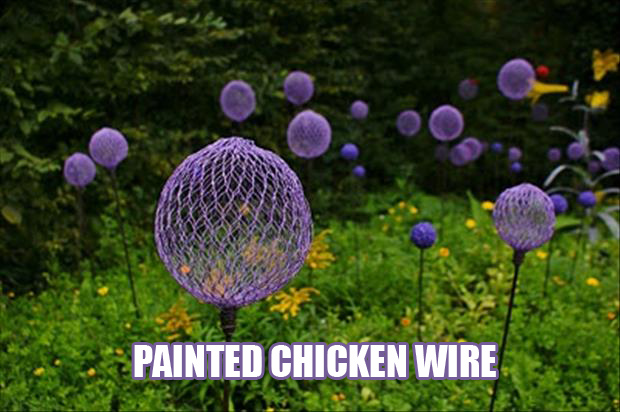 a spray painted chicken wire