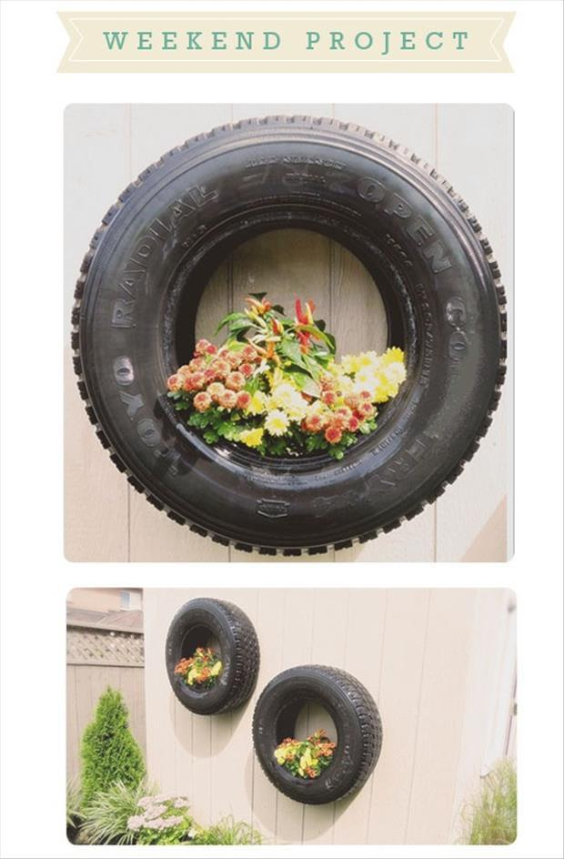 a tire used to grow flowers
