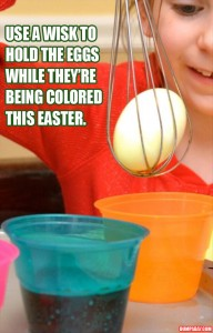 a use a wisk to hold the easter egg when coloring it