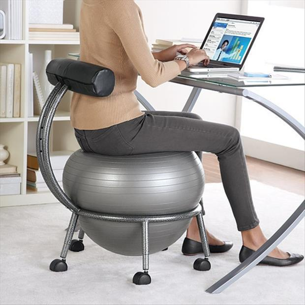 a workout ball chair