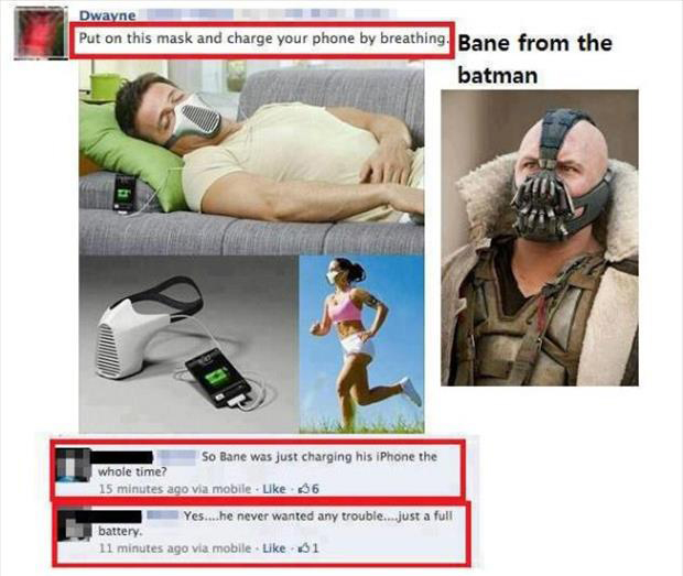 bane from batman mask to charge your iPhone