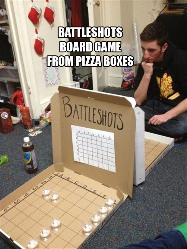 battleshots game from pizza boxes