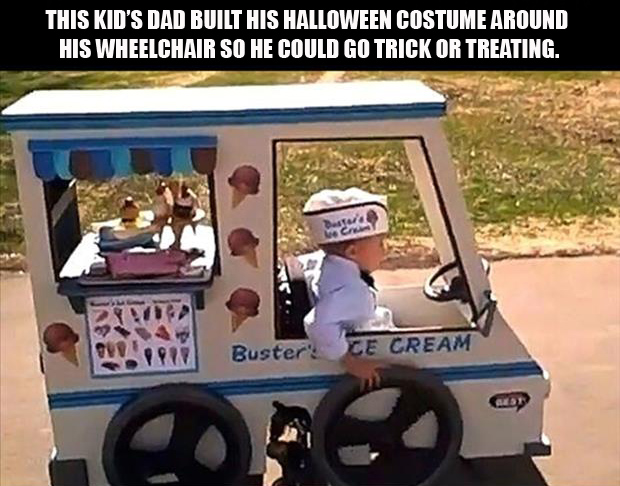 dad builds kid's halloween costume